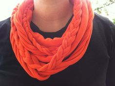 Orange T Shirt Scarf by IdleHandsBoutique on Etsy, $23.95