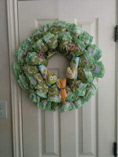 Look whos new too owl themed diaper wreath baby shower gift for owl themed diaper wreath baby shower gift for girl or negle Choice Image