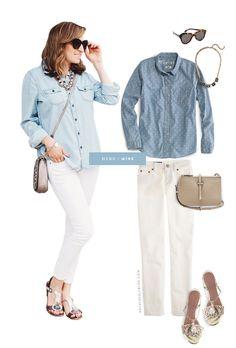 Chambray & white jeans