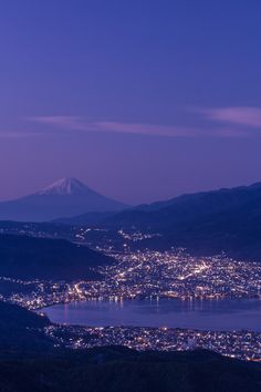 Mt. Fuji and Lake Suwa at dusk, Nagano, Japan