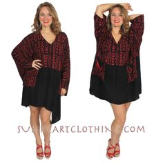 ONLY ONE! MOROCCAN COTTON PLUS BLK/RED NoBi 2PockeT TUNIC SML-MED-LG-1X-2X-6X #DAIRI #TOP #Casual