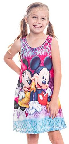 Girl's Tank Dress Mickey Minnie Mouse Print Nightgown Coverup