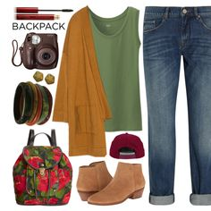 Bountiful Backpack by sweet-jolly-ranchers on Polyvore featuring moda, Zara, dVb Victoria Beckham, Uniqlo, Jack Rogers, Patricia Nash, Elizabeth Gage, H&M, Kevyn Aucoin and BackToSchool