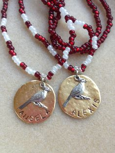 Calling all Cardinal Fans......personalized, hand crafted, stretch cord necklaces........Abba Dabba Beads