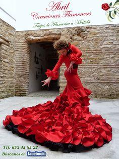 En Abril Creaciones Flamencas comenzamos este 2014  pisando muy fuerte.   Estrenamos este mes de Enero con un d... Wedding Dress Train, Wedding Dresses, Red Frock, Gypsy Wedding, Flamenco Dancers, Dance Poses, Costume Dress, Frocks, Cool Outfits