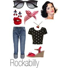 Rockabilly by danielle-jenks on Polyvore featuring Glamorous, Boohoo, Anna Field, Jennifer Loiselle, Ray-Ban and Charlotte Tilbury