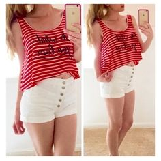 • Do What you Love Crop • Red and white striped tank crop. 95% rayon. 5% spandex. Please comment what size you need and I'll make a separate listing for you.   •price firm unless bundled •no trades •10% off all bundles Jennifer's Chic Boutique Tops