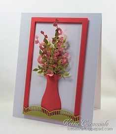 Good Tuesday morning. My project today was made for the Splitcoaststampers Clean and Simple challenge to use pale green, coral and pale coral. I created a vase of flowers using the Impression Obsessio
