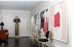 Katie Lydon Interiors. Love the fashiony graphic triptych.
