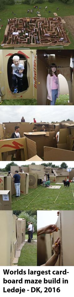 The ultimate DIY cardboard project. A one-day construction with the participation of . Cardboard Play, Cardboard Crafts, Activities For Boys, Summer Activities, Seashell Wind Chimes, Outside Games, Youth Programs, Fall Fest, 7 Hours