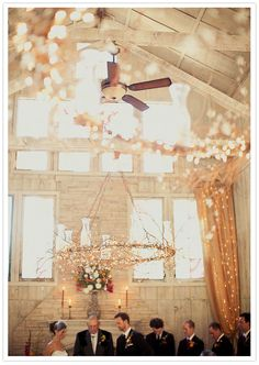 Rustic barn ceremony | A lot of string lights #wedding #ceremony #lights #hula #hoops,  Go To www.likegossip.com to get more Gossip News!