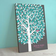 Unique Guest Book Alternative | Stretched Canvas Guest Book Tree | Peachwik | Wedding Colors: grey, pink, turquoise, aqua, mint