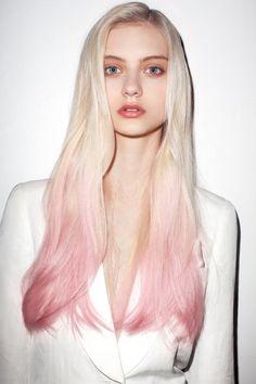 Dip-dyed pink