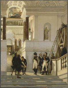 Napoleon visitant l'escalier du Louvre