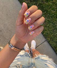 Short Nail Manicure, Manicure Nail Designs, Nail Polish Designs, Gel Nails, Funky Nails, Trendy Nails, Cute Nails, Color For Nails, Cute Nail Art Designs