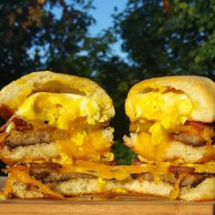 Egg stuffed double biscuit breakfast sandwich  Short video on my instagram account @tymbussanich  Or check out my facebook page Tym bussanich productions