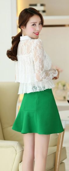 Lace Shirt with Collar YRB0636