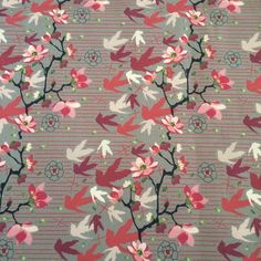 Beautiful drill canvas suitable for bags and craft projects. Available to purchase through our store - http://wovenbysociety.com.au/product/red-and-pink-birds/