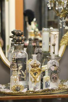 Embellished bottles via Romancing the Home