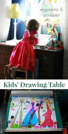 A kids drawing table with a slanted surface is ergonomic, making it better for kids art and writing. Try this wood one or make your own inexpensive version.