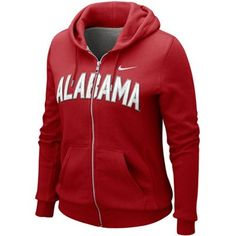 Nike Alabama Crimson Tide Ladies Crimson University Classic Full Zip Hoodie Sweatshirt