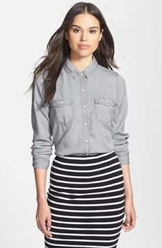 $68, Grey Denim Shirt: Halogen Long Sleeve Chambray Shirt Grey Micro Small. Sold by Nordstrom. Click for more info: https://lookastic.com/women/shop_items/91120/redirect