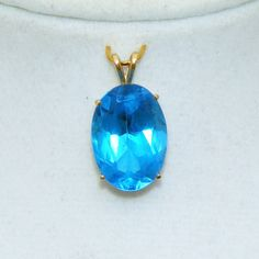 "14kt Yellow Gold Large Deep Aqua Blue Vintage Pendant.  See me at the ""Vintage Jewelry Star"" shop at http://www.rubylane.com/shop/vintagejewelrystar!!"