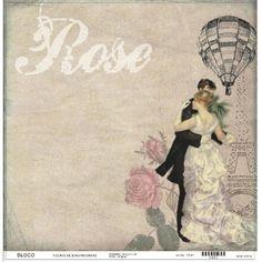 Folha scrapbook Rose/Paris