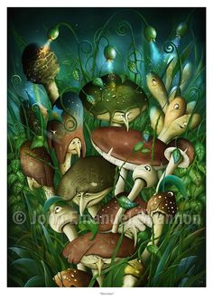 Art Print Shrooms Magical Mushrooms 117x165 print by jeshannon