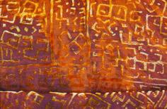 Africa design silk velvet Devore by Liz Wauchope, circa 1995.
