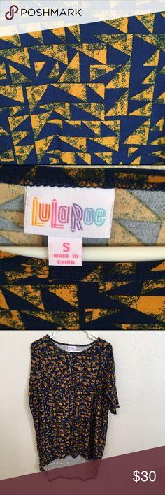 NWT LuLaRoe Irma Tunic Navy background, mustard/rust triangles. Leggings material. So soft LuLaRoe Tops Tunics