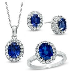 Zales Oval Lab-Created Ceylon and White Sapphire Frame Ring, Pendant and Earrings Set in Sterling Silver - Size 7 Jewelry Stores, Jewelry Sets, Fine Jewelry, Pendant Earrings, Diamond Earrings, White Sapphire, Ceylon Sapphire, Earring Set, Jewelry Collection