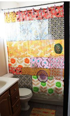 Quilted Shower Curtain. i could see this made with seasonal & themed fabrics. Made with Amy Butler fabrics would be incredible!!!