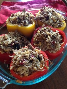 Middle Eastern-inspired stuffed peppers with lamb, rice and dried fruit.