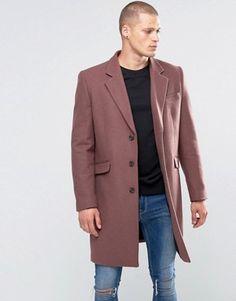 Abrigo de mezcla de lana en rosa de ASOS