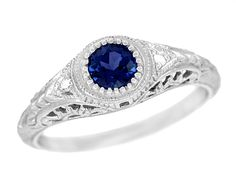 Art Deco Engraved Sapphire and Diamond Filigree Engagement Ring in 14 Karat White Gold $680.00 http://www.antiquejewelrymall.com/sapanddiamfi.html