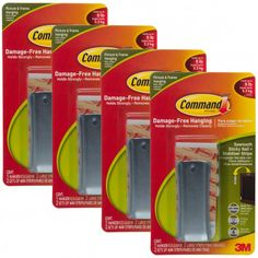 4ct Command 3M Hanging Sawtooth Nail + Stabilizer Strip Sets