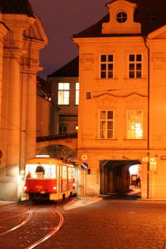 Prague night tram at Lesser Town, Czechia