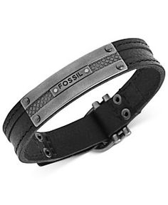 Fossil Men's Bracelet, Silver-Tone and Black Leather Plaque Bracelet