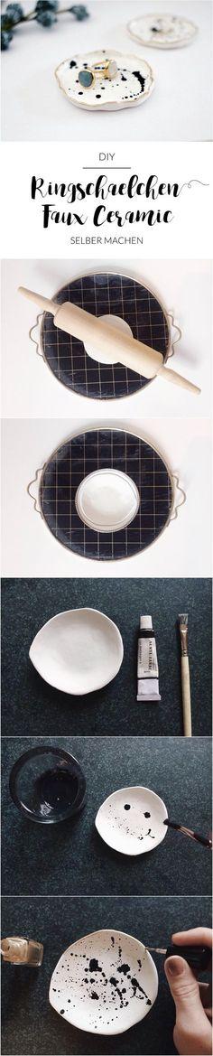 DIY Ringschale   Schmuckschale   Schälchen   Goldrand   Sprenkel   Faux Ceramic selber machen   Modelliermasse   paulsvera
