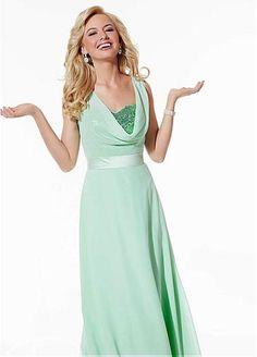 Chic en mousseline de soie & Sequin Lace Cowl décolleté naturel décolleté Cadrage en pied une ligne de robes de demoiselle d'honneur