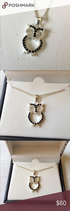 """New Black & Silver CZ Owl Necklace Brand: unbranded  Condition: Brand new with tags in box  Color: silver & black  Size: 18"""" chain  MSRP: $59.99  Material: Silver plate & CZ stones Jewelry Necklaces"""