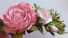 МК! Как сделать заколку из фоамирана! Простой способ! Hairpin rose from ...