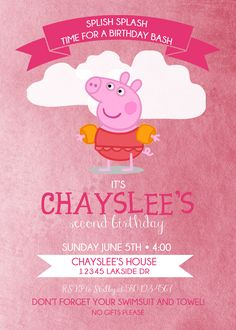 Peppa Pig Birthday invitation. 2nd birthday idea. 3rd birthday. splish splash birthday bash Birthday Bash, Birthday Parties, Peppa Pig Birthday Invitations, Splish Splash, Party Ideas, Gifts, Anniversary Parties, Presents, Ideas Party