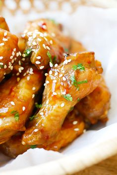 Crispy Baked Orange Chicken Wings - baked in the oven and coated with a sweet, citrusy and savory Chinese orange sauce!!