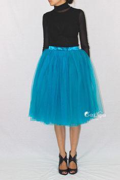Colette  Teal Tulle Skirt Soft Tulle Skirt Tea Length by CestCaNY-$79.00+