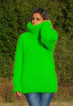 neon green Knit Mohair Fluffy Jumpers, long sleeves Knit high neck Mohair loose pullover Sweater #mohair #oversized #sweater www.loveitsomuch.com
