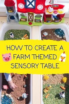 Re-create our farm themed sensory table for your little one! With a variety of sensory textures, this farm themed invitation to play is bound to be a winner with your littles! Farm Sensory Bin, Sensory Table, Baby Sensory, Sensory Bins, Sensory Play, Farm Activities, Infant Activities, Farm Animals Preschool, Play Based Learning