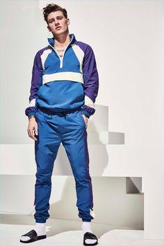 Mikkel Jensen rocks a color blocked jogging suit from River Island's high summer 2017 collection.