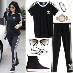 Black Hills Gold Necklace Kylie Jenner and a friend out shopping at Neiman Marcus in Woodland Hills. Kylie Jenner Outfits, Kylie Jenner Style, Look Fashion, Hijab Fashion, Fashion Outfits, Sporty Outfits, Cool Outfits, Sporty Dresses, Striped Leggings Outfit
